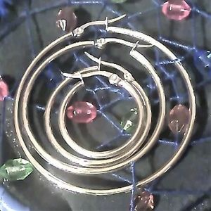 Jewelry - 4 pair Stainless Steel Hoop Earrings